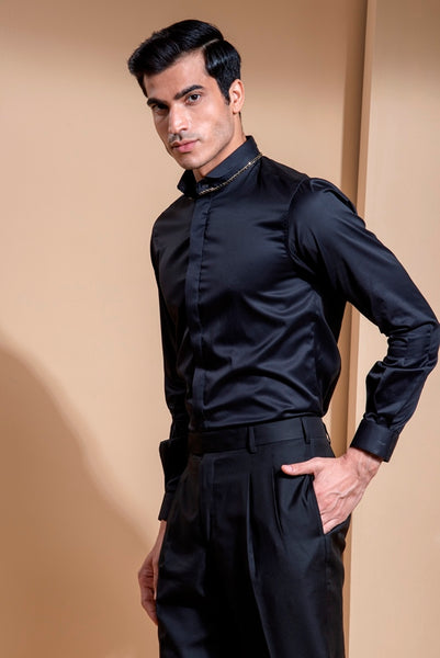 Black Scissor Cotton Shirt