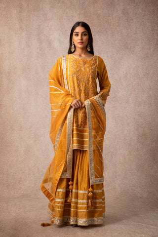 Mustard Embroidered Kurta With Gharara & Dupatta With Gota Embellishments