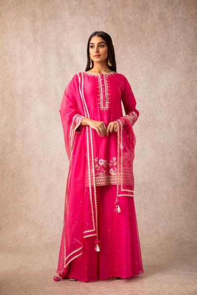 Rani Pink Embroidered Short Kurta With Organza Sharara & Dupatta