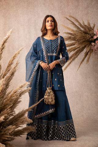 Navy Embroidered Short Kurta With Gota Embellished Dupatta & Sharara
