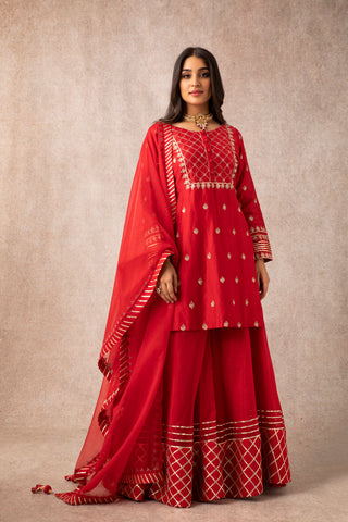 Red Embroidered Short Kurta With Gota Embellished Dupatta & Sharara