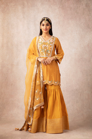 Mustard Short Scalloped Kurta With Embroidered Gharara & Dupatta
