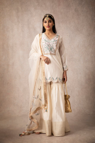 Ivory Short Scalloped Kurta With Embroidered Gharara & Dupatta