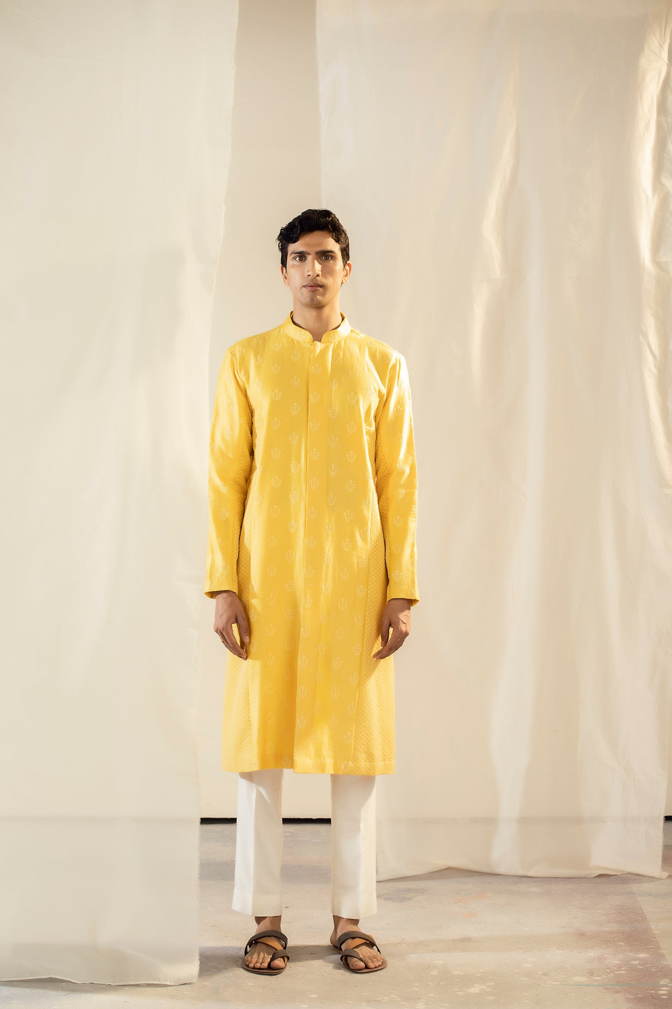 Yellow Handwoven Chanderi Thread Embroidered Kurta