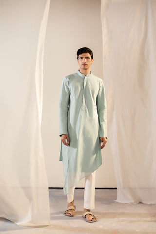 Pastel Green Handwoven Chanderi Asymmetric Pleated Kurta
