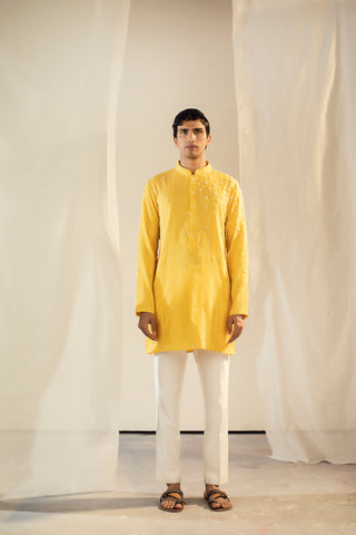 Yellow Banarasi Silk Zari Strip Short Kurta