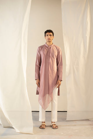 Purple Handwoven Chanderi Silk Asymmetric Kurta