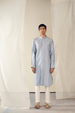 Pastel Blue Handwoven Chanderi Silk Thread Embroidered Kurta