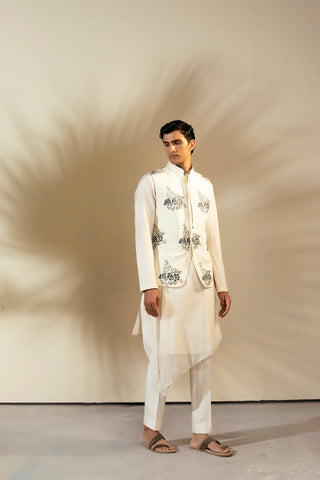 Ivory Linen Thread Embroidered Nehru Jacket