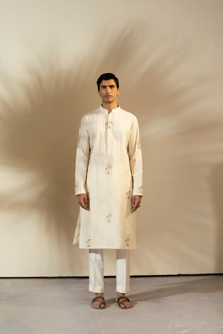 Ivory Banarasi Silk Kurta With Gold Stripes & Embroidery