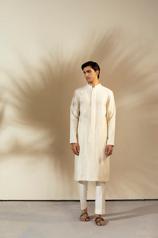 Ivory Handwoven Chanderi Thread Embroidered Kurta