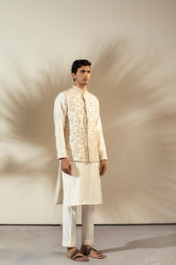 Beige Tasar Silk Nehru Jacket With French Knot Embroidery