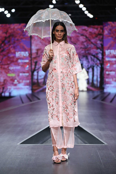 Pink Organza Heavy Embroidered Jacket with Sheer Organza Pants