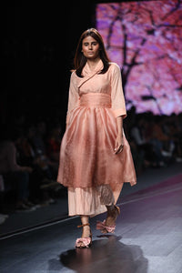 Peach and Brown Mul Ombre Printed Layered Dress with Belt