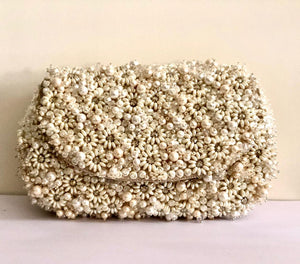 Pearl Emboss Embroidered Clutch