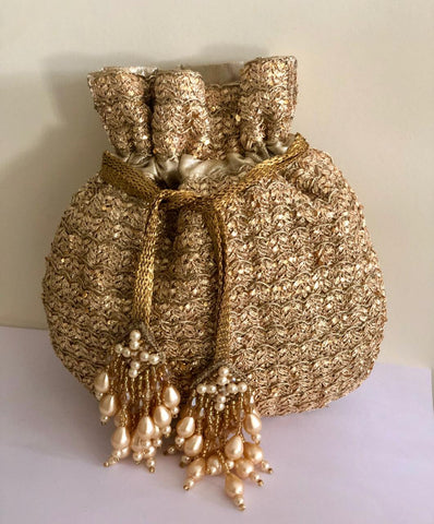 Antique Gold Potli With Intricate Embroidery