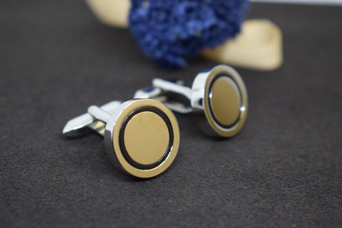 Silver-Black Brass Metal Cufflinks (Set of 2)