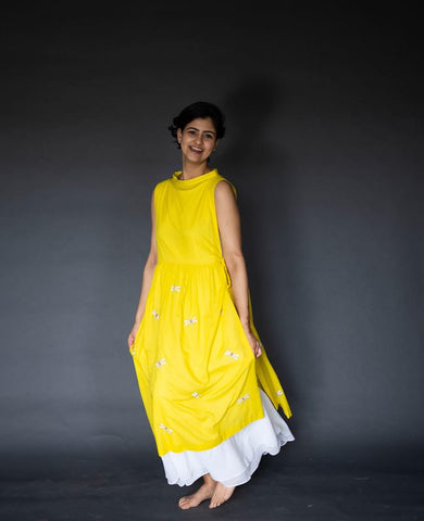 Yellow Cotton Double Layer Dress With Embroidered Dragonflies