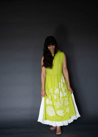 Lime Green Gathered Double Layer Dress With Ivory Embroidery