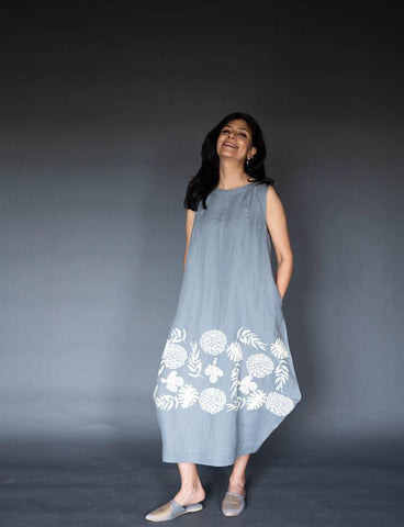 Dove Grey Linen Dress With Ivory Embroidery