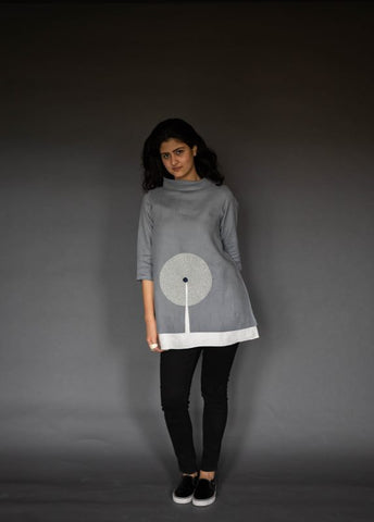 Dove Grey Linen Top With Ivory Inner