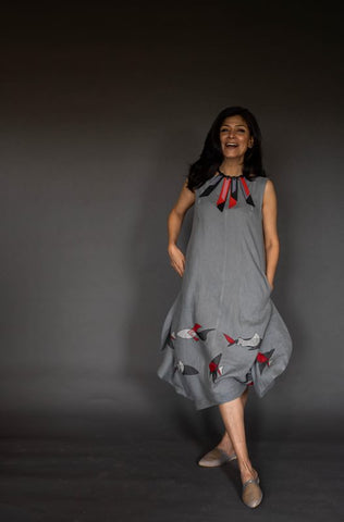 Dove Grey Linen Round Cocoon Dress With Applique