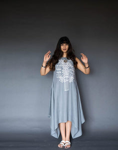 Dove Grey Linen Asymmetrical Dress With Ivory Applique