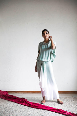 Light Sea Green & Ivory Ombre Dyed Skirt & Top Set