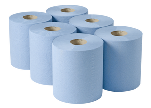 2 Ply Blue Roll Centrefeed - Blue - 180m x 200mm - 500 sheet (pk 6)