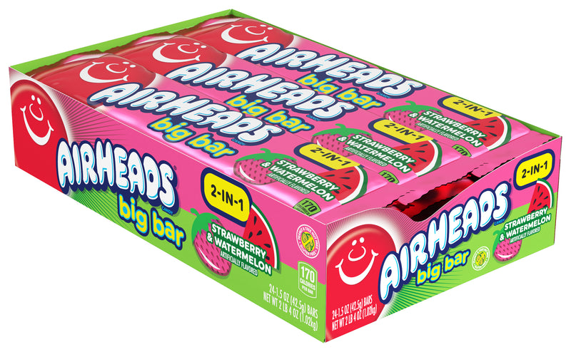 Airheads 2 in 1 Strawberry & Watermelon Big Bar Candy 42.5g