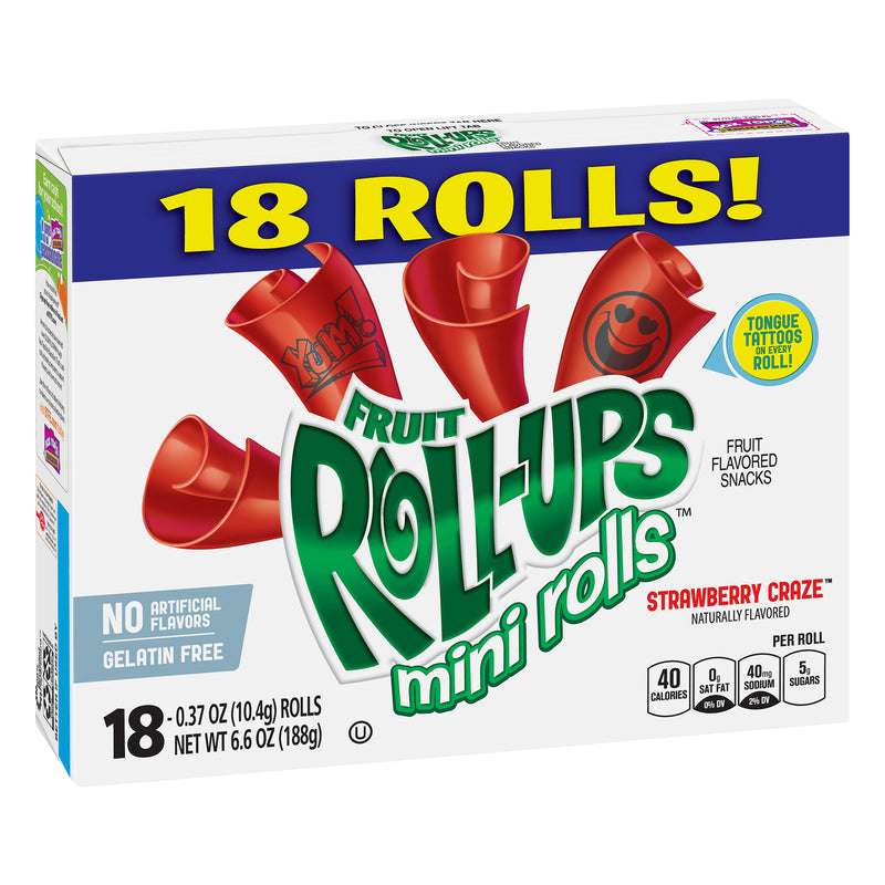 Fruit Roll Ups Mini Rolls Strawberry Craze Fruit Flavoured Snacks 188g