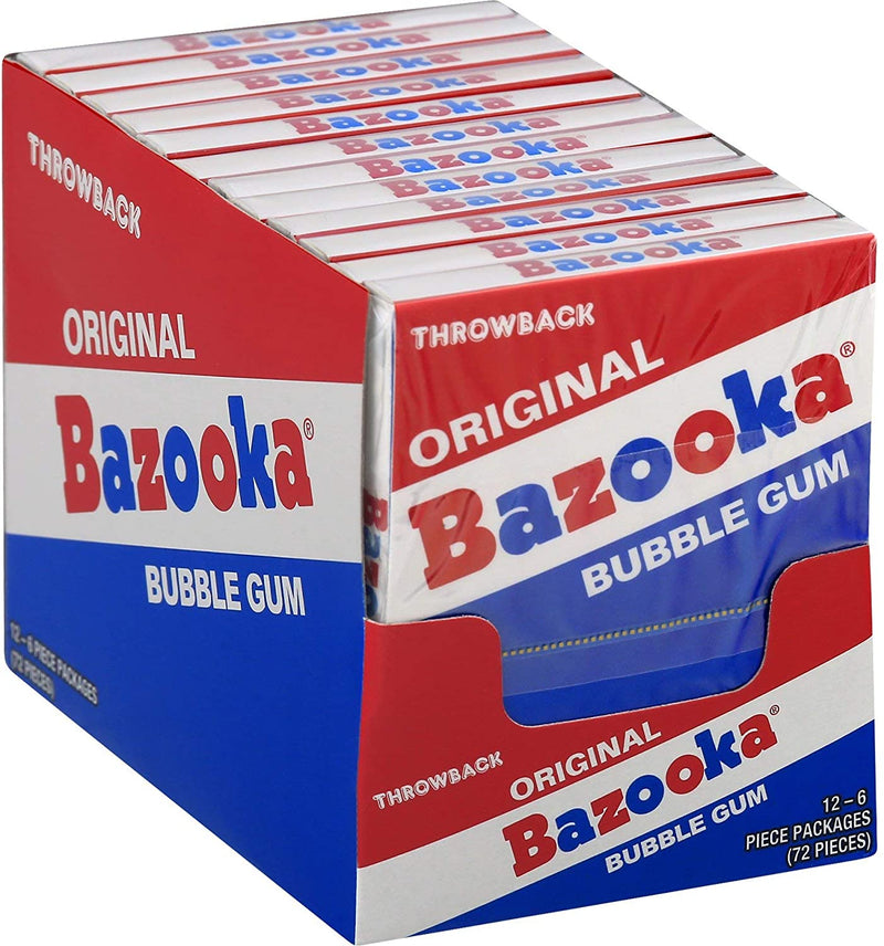 Bazooka Throwback Original Bubble Gum Mini Wallet Pack 6 pcs