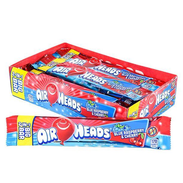 Airheads 2 in 1 Blue Raspberry & Cherry Big Bar Candy 42.5g