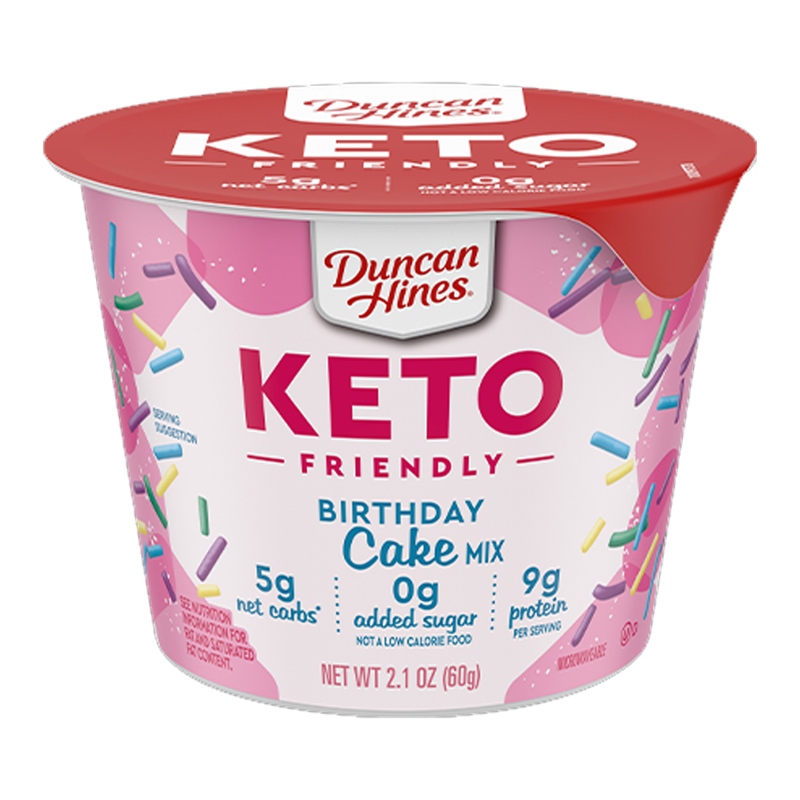 Duncan Hines Keto Friendly Birthday Cake Mix Cup 60g