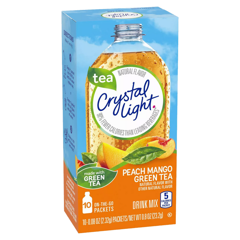 Crystal Light On The Go Peach Mango Green Tea Drink Mix 23.2g