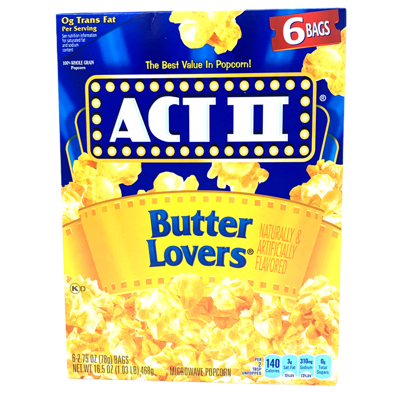 Act II Butter Lovers Microwave Popcorn 468g (6 x 78g)
