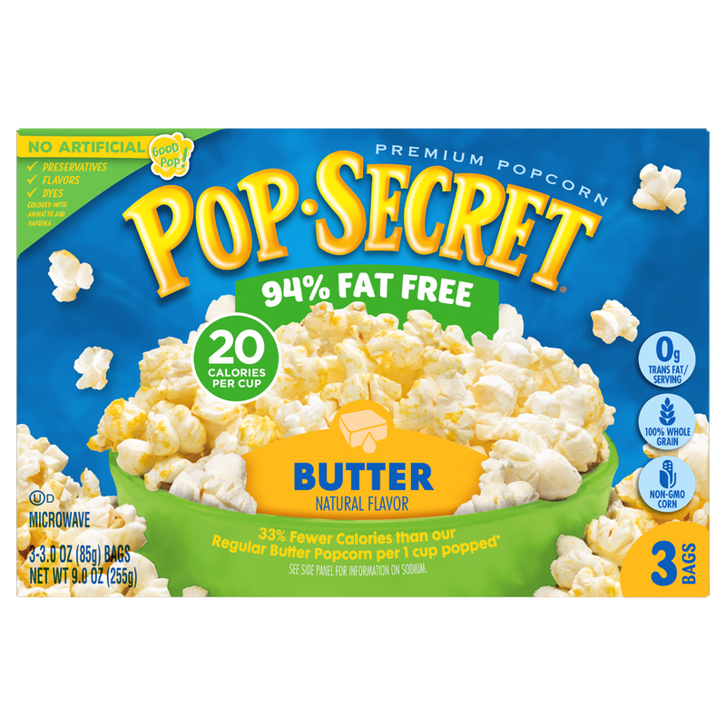 Pop Secret 94% Fat Free Butter Microwave Premium Popcorn 255g- (3 x 85g)