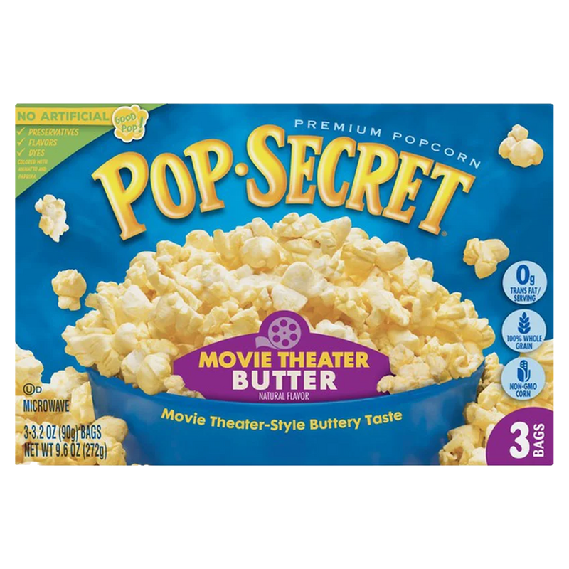 Pop Secret Movie Theater Butter Microwave Popcorn 272g-(3 x 90g)