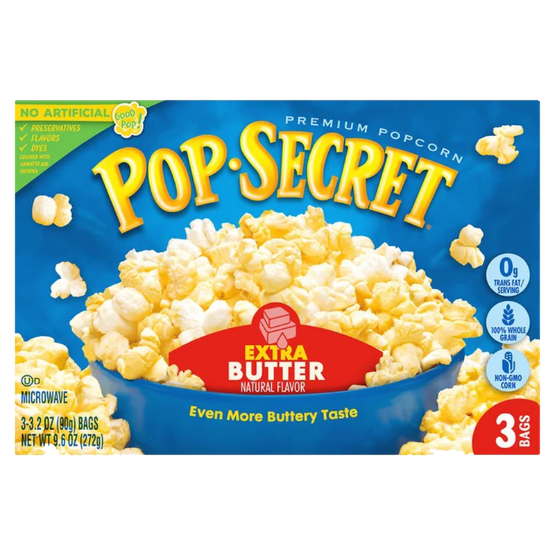 Pop Secret Extra Butter Microwave Popcorn 272g- (3 x 90g)