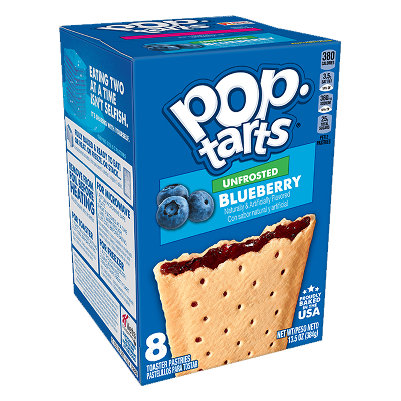 Kellogg's Pop Tarts Unfrosted Blueberry Toaster Pastries 384g