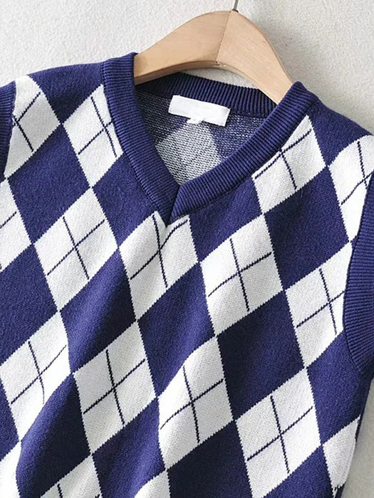Color Block Argyle Sweater Vest