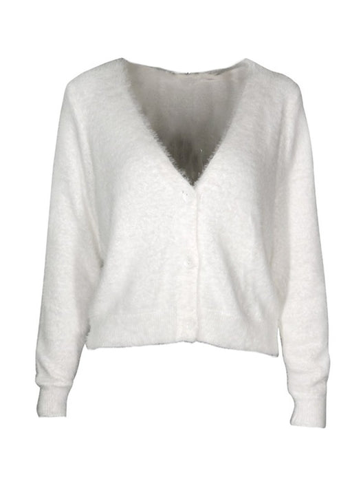 Fuzzy V Neck Knit Cardigan