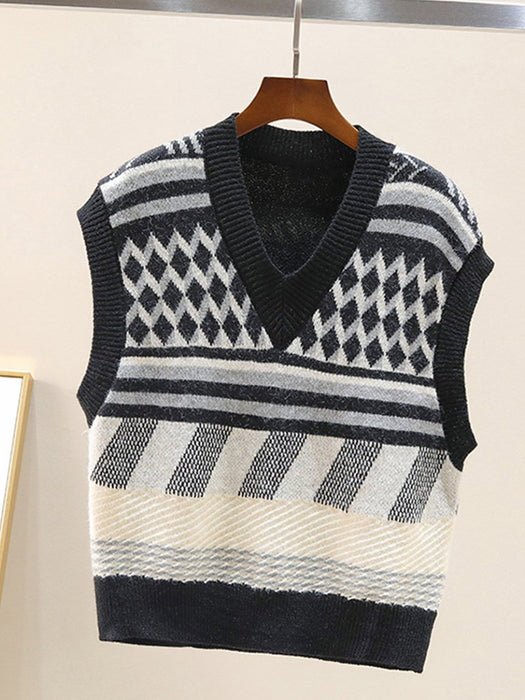 Argyle Stripe Color Block Stripe Sweater Vest