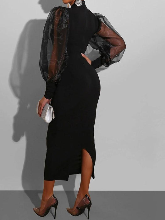Stand Collar Long Sleeve Mid-Calf Pullover Pencil Dress