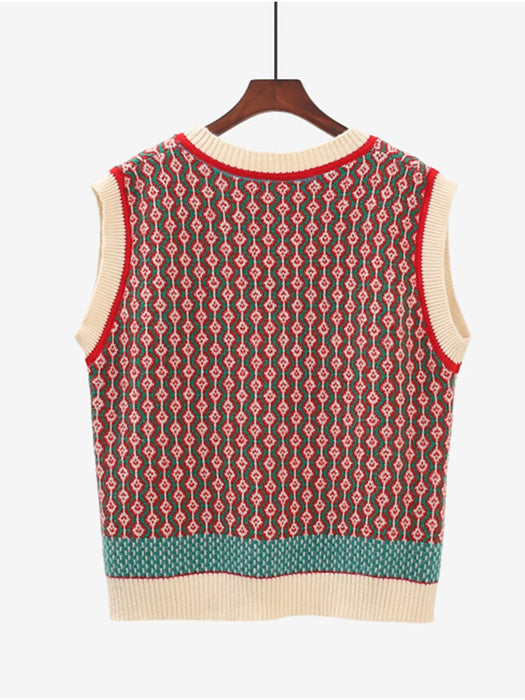 Color Block V Neck Knit Vest