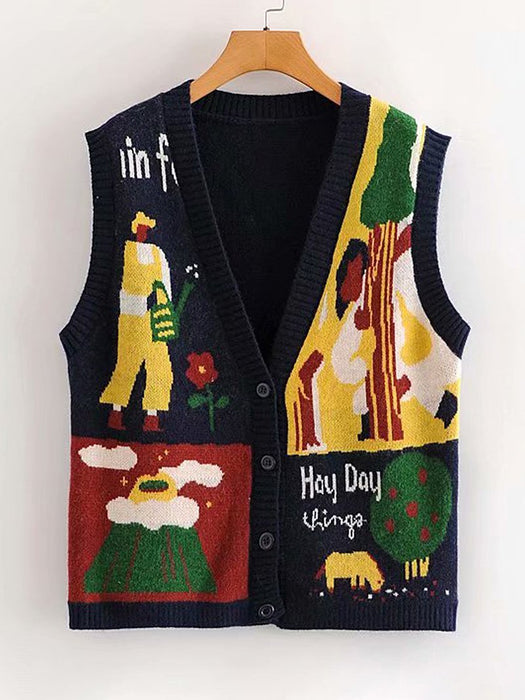 Graphic Letter Print  Sweater Vest
