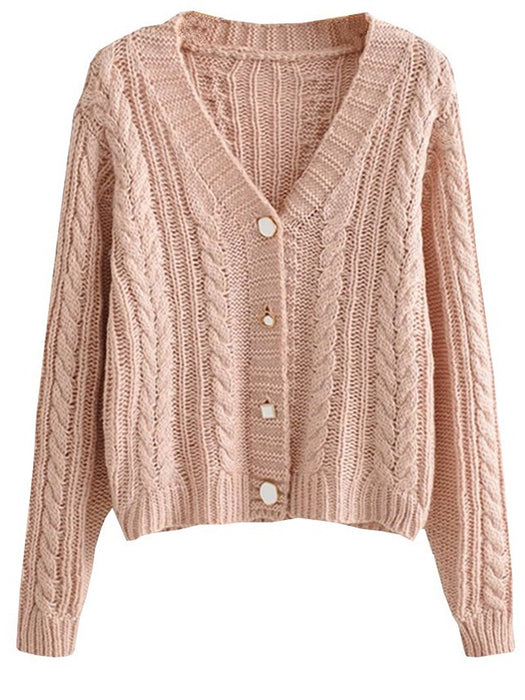 Twist Knit Button Down Cardigan Sweater