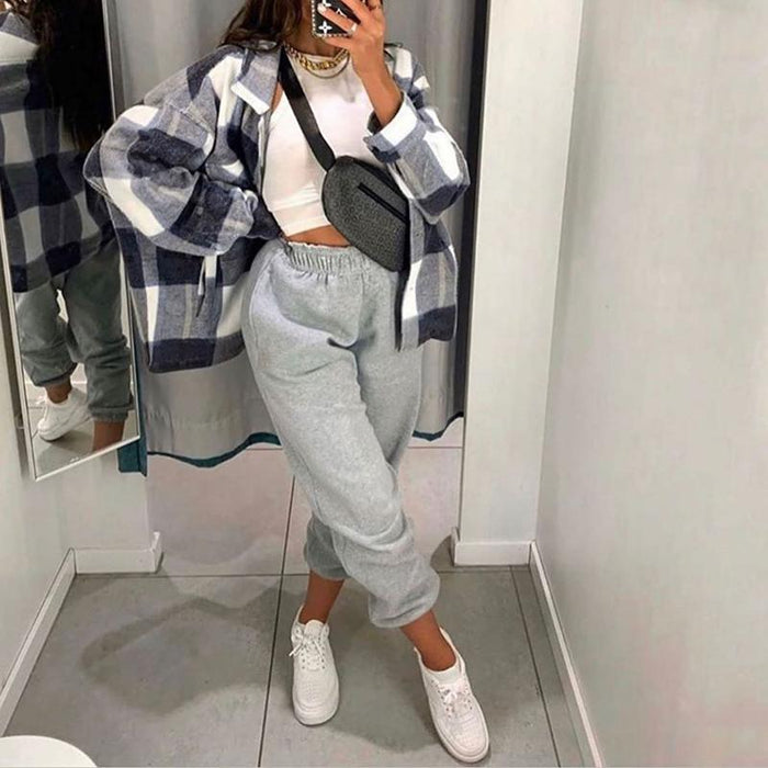 Trendy Blue Check Oversized Shacket