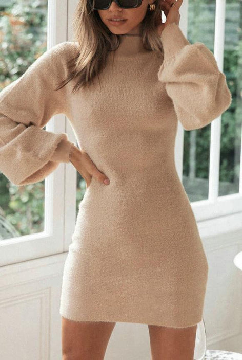 Full Sexy Elegant conventional knitting no Knitted Micro-elasticity Dress