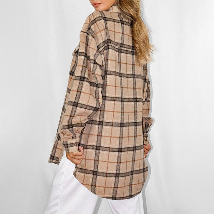 Brown Oversized Check Print Shacket